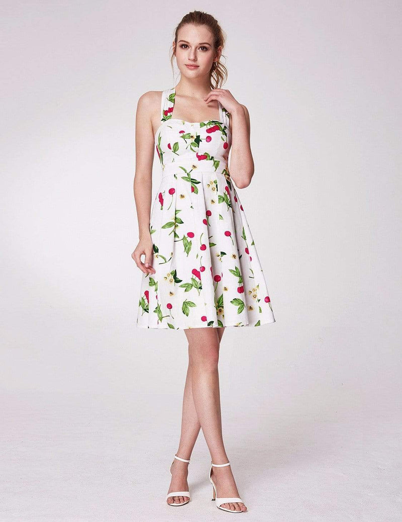 Alisa Pan Retro Cherry Print Fit And Flare Dress-White 1