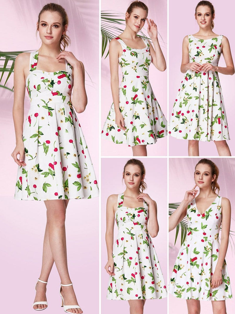 Alisa Pan Retro Cherry Print Fit And Flare Dress-White 6