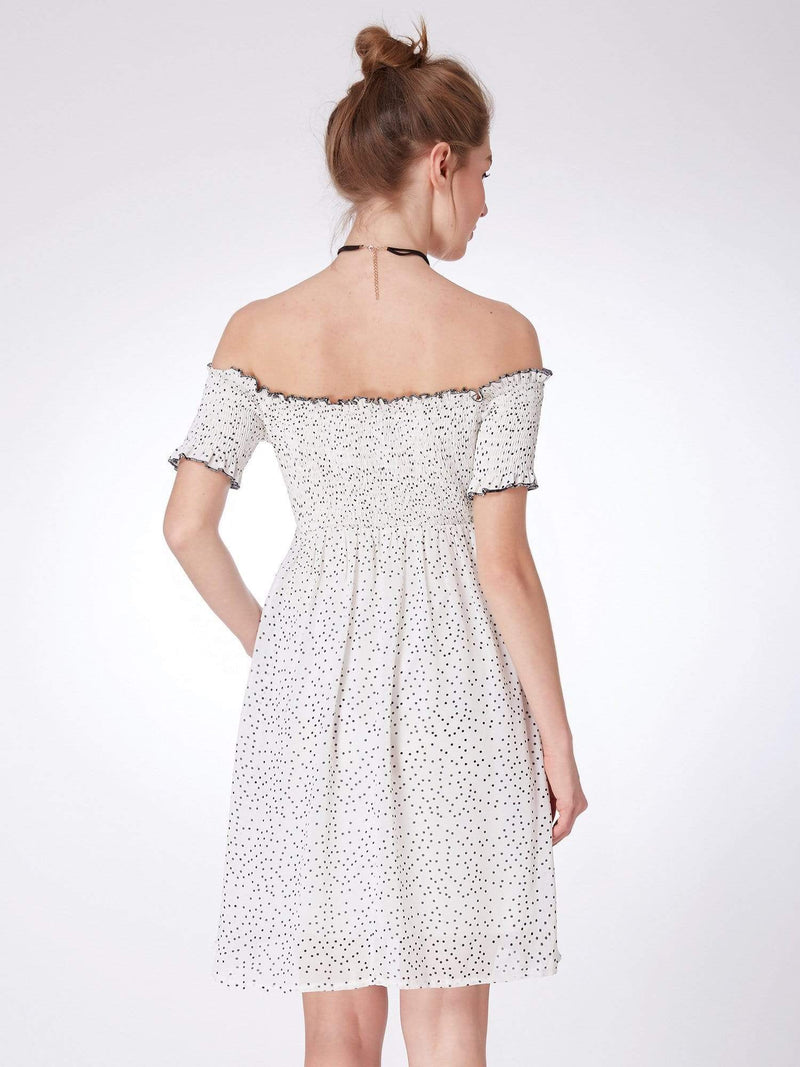 Alisa Pan Off Shoulder Polka Dot Shift Dress-White Black 3