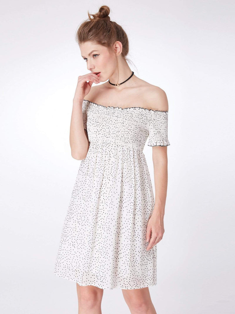 Alisa Pan Off Shoulder Polka Dot Shift Dress-White Black 2