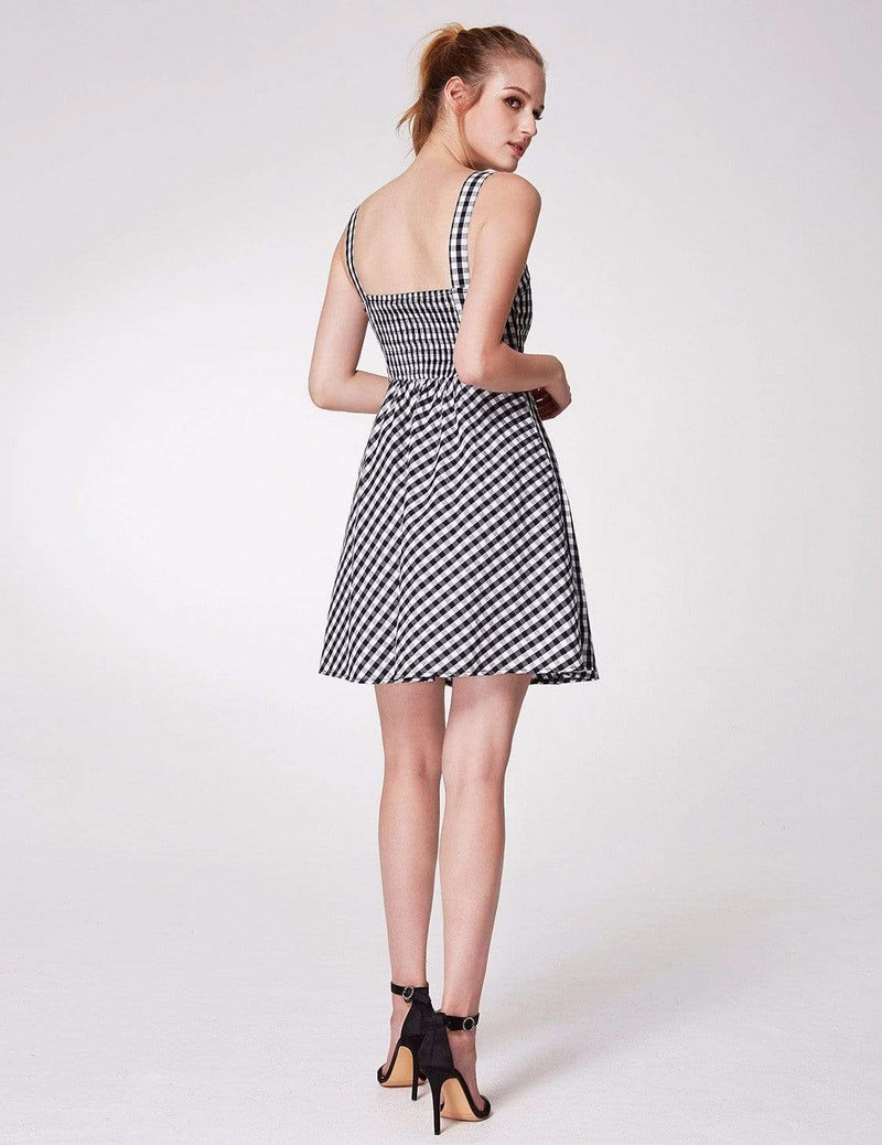 Alisa Pan Short Fit And Flare Gingham Dress-White Black 5
