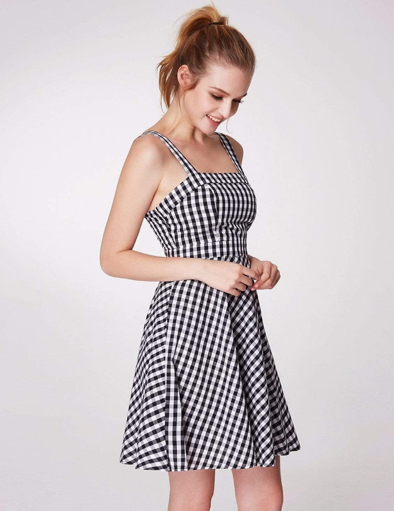 Alisa Pan Short Fit And Flare Gingham Dress-White Black 6