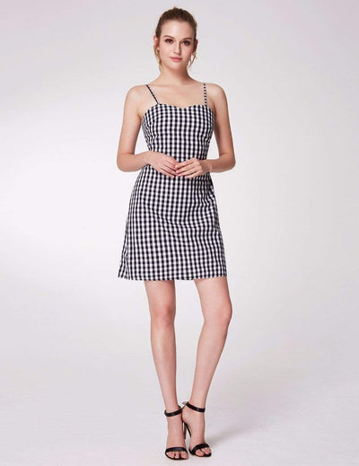 Alisa Pan Open Back Gingham Mini Summer Dress