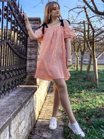 Summer Striped Print Cotton Cold Shoulder Sleeves Stretchy Above the Knee Dress