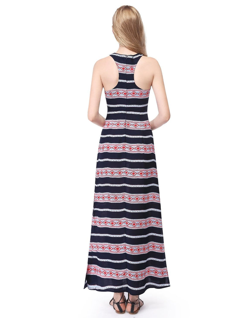 Alisa Pan Maxi Dress With High Slits & Racerback-Navy Blue 4