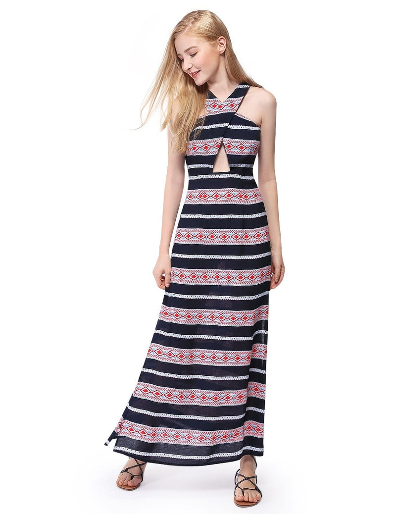 Alisa Pan Maxi Dress With High Slits & Racerback-Navy Blue 1