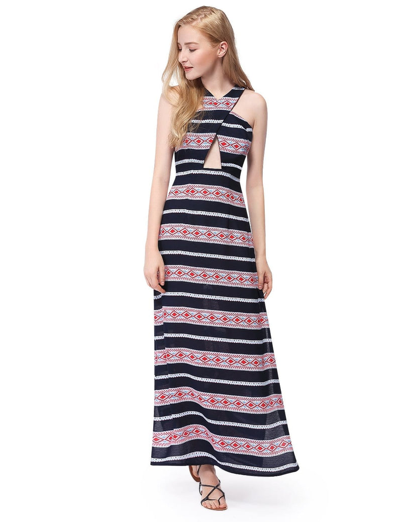 Alisa Pan Maxi Dress With High Slits & Racerback-Navy Blue 3
