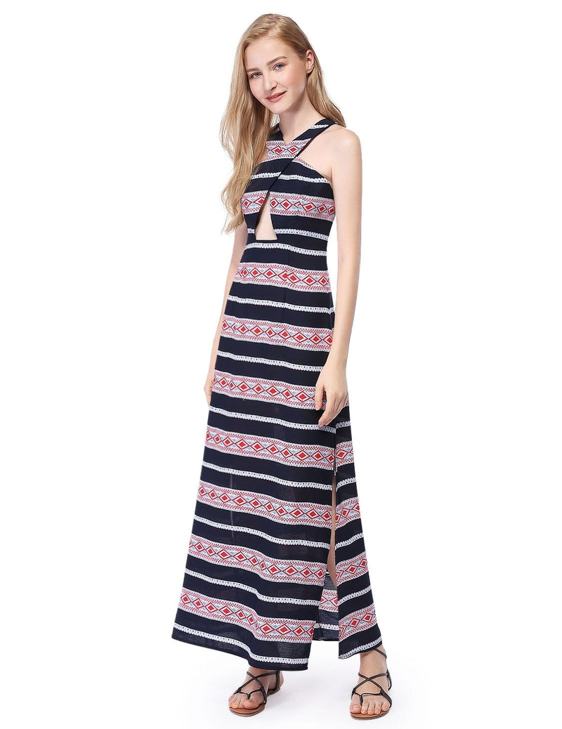 Alisa Pan Maxi Dress With High Slits & Racerback-Navy Blue 2