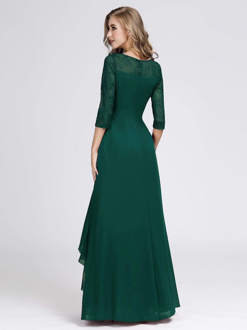 Women'S 3/4 Sleeve Front Wrap Dress Floor-Length Bridesmaid Dress-Dark Green 5