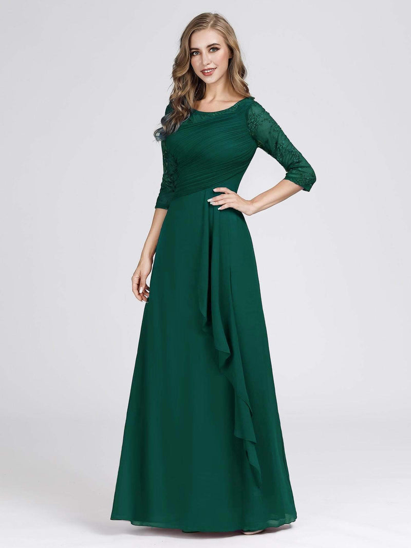 Women'S 3/4 Sleeve Front Wrap Dress Floor-Length Bridesmaid Dress-Dark Green 6