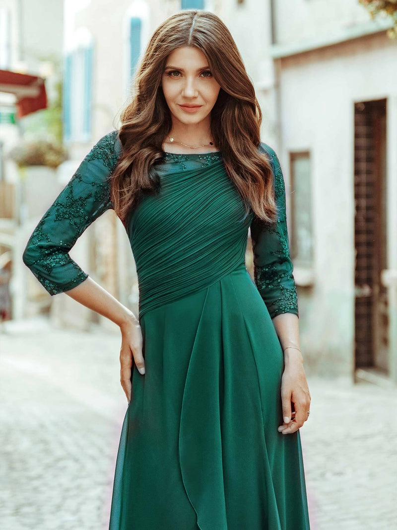 Women'S 3/4 Sleeve Front Wrap Dress Floor-Length Bridesmaid Dress-Dark Green 3