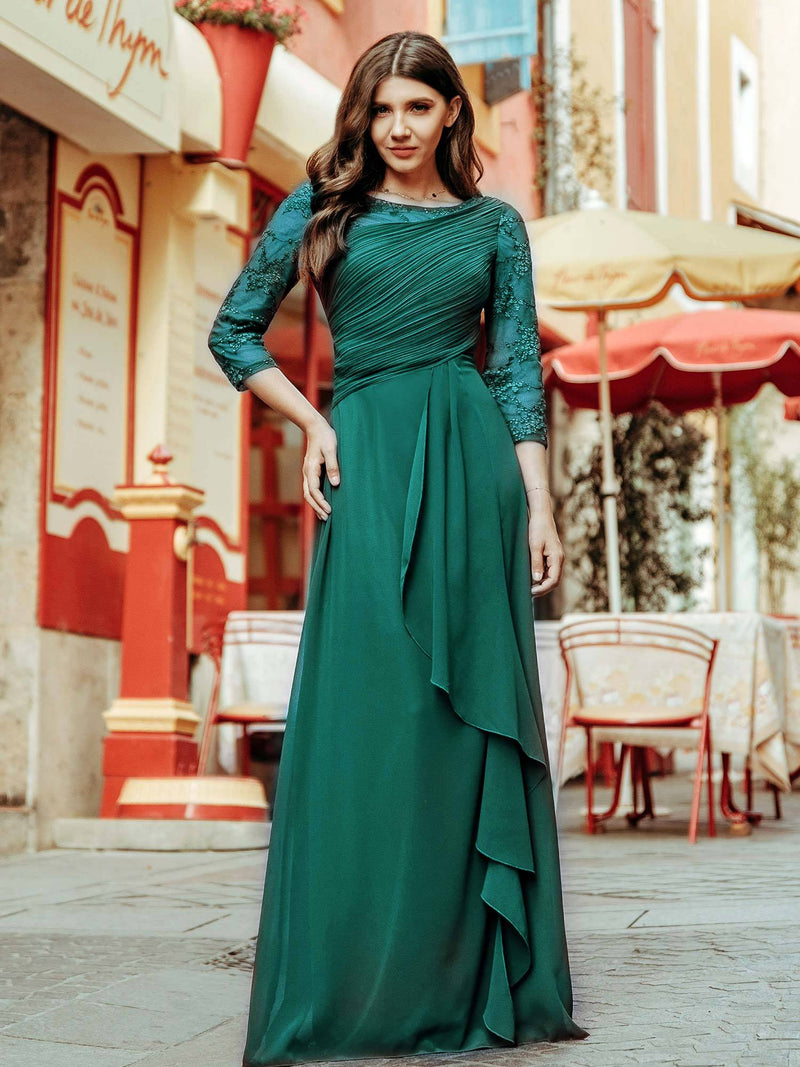 Women'S 3/4 Sleeve Front Wrap Dress Floor-Length Bridesmaid Dress-Dark Green 1