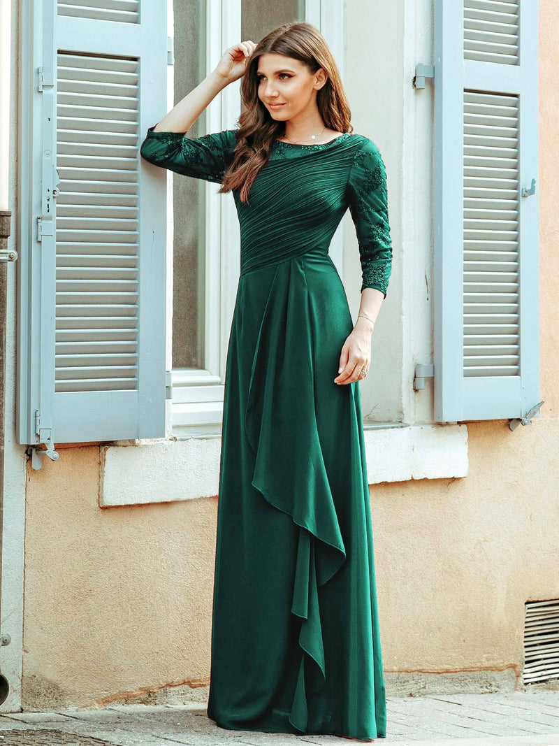Women'S 3/4 Sleeve Front Wrap Dress Floor-Length Bridesmaid Dress-Dark Green 2