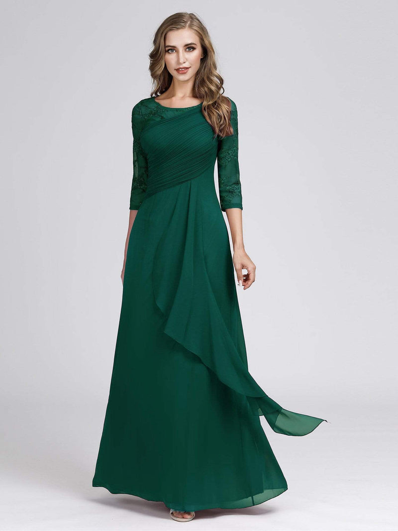Women'S 3/4 Sleeve Front Wrap Dress Floor-Length Bridesmaid Dress-Dark Green 4