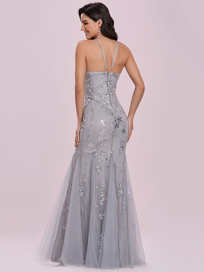Elegant Halter Neck Embroidery Maxi Tulle Evening Dress-Grey 2