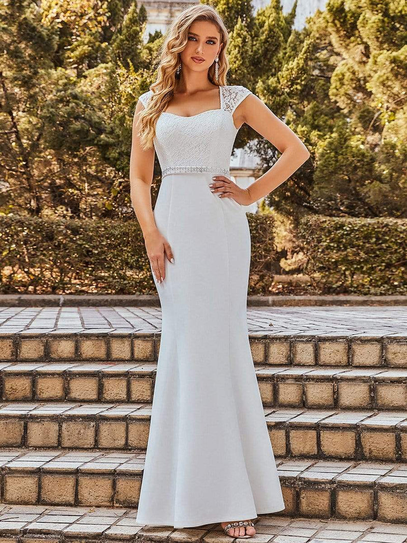Simple Cap Sleeve Sweetheart Mermaid Style Wedding Dress-Cream 9