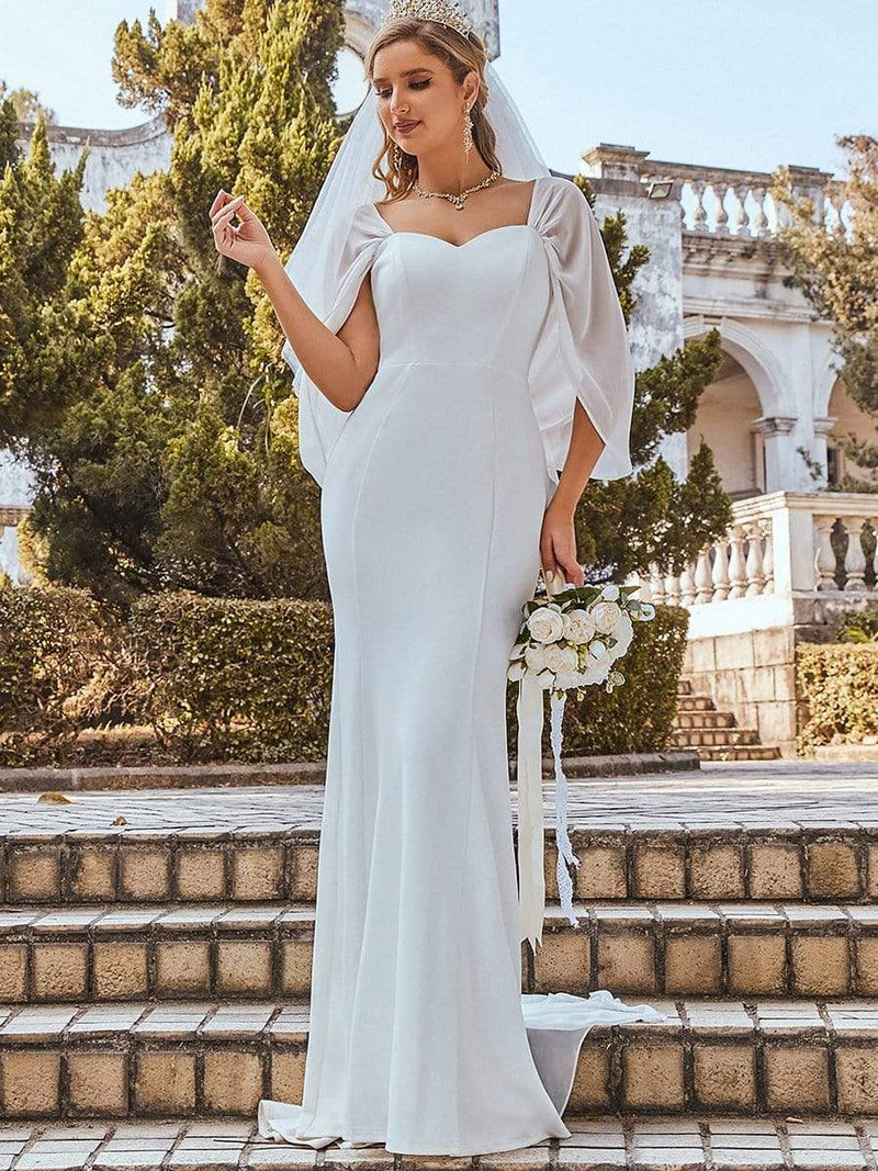 Swag-Sleeves V Neck Floor Length Fishtail Wedding Dress-Cream 9