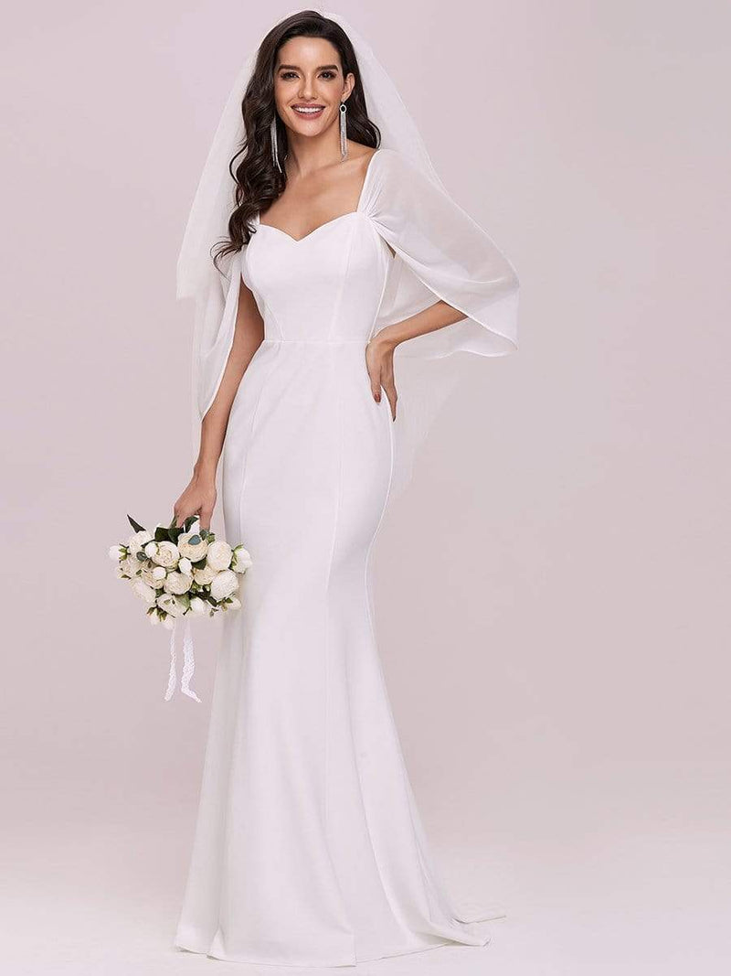 Swag-Sleeves V Neck Floor Length Fishtail Wedding Dress-Cream 3