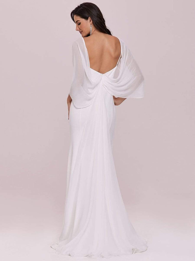 Swag-Sleeves V Neck Floor Length Fishtail Wedding Dress-Cream 4
