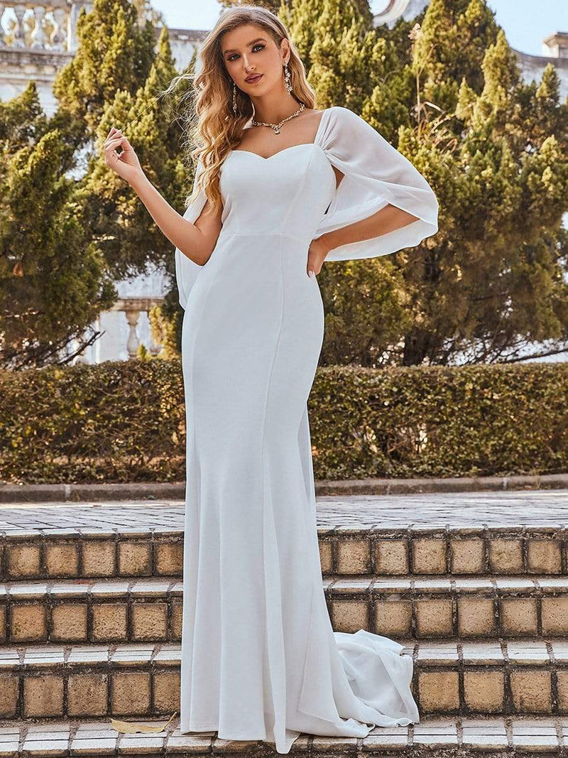 Swag-Sleeves V Neck Floor Length Fishtail Wedding Dress-Cream 8