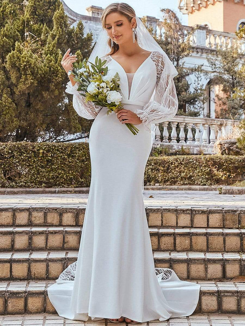 Long Lace Lantern Sleeves Simple Mermaid Wedding Dress-Cream 6