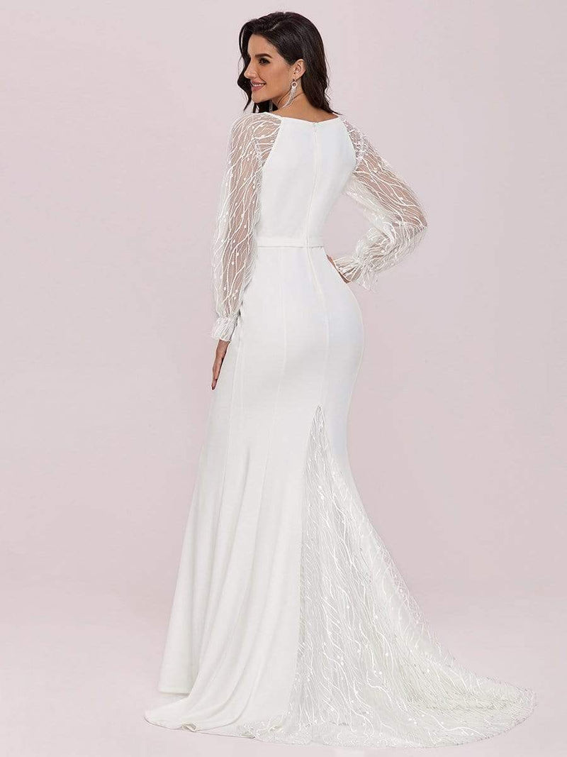 Long Lace Lantern Sleeves Simple Mermaid Wedding Dress-Cream 2