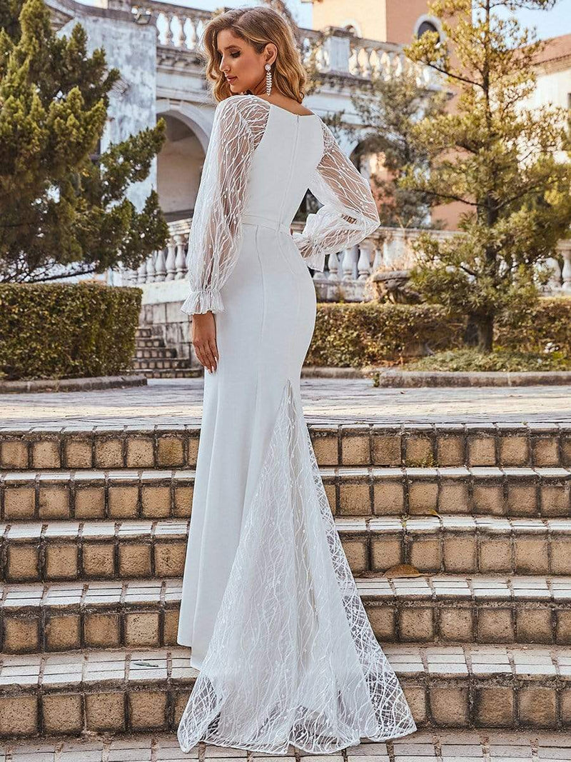 Long Lace Lantern Sleeves Simple Mermaid Wedding Dress-Cream 7