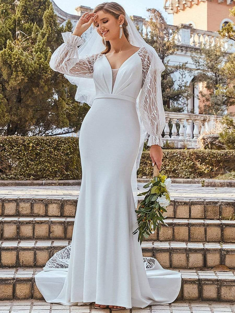 Long Lace Lantern Sleeves Simple Mermaid Wedding Dress-Cream 9