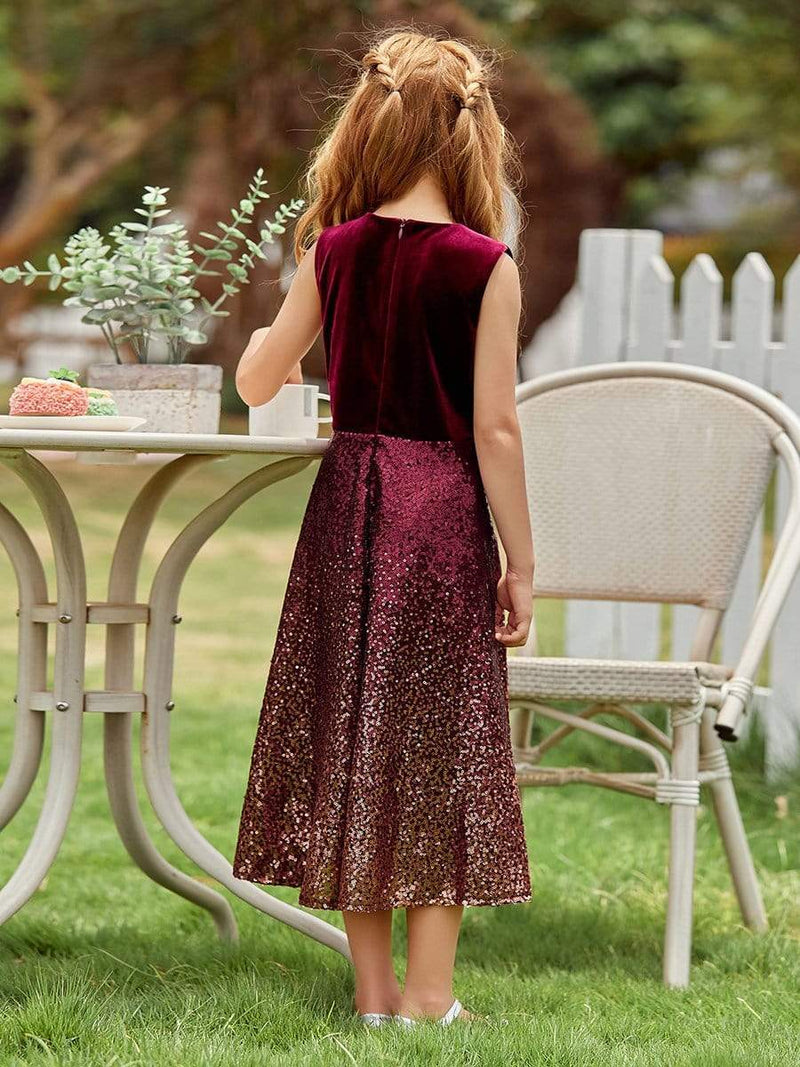 Trendy O-Neck Sleeveless Velvet & Sequin Flower Girl Dress-Burgundy 2