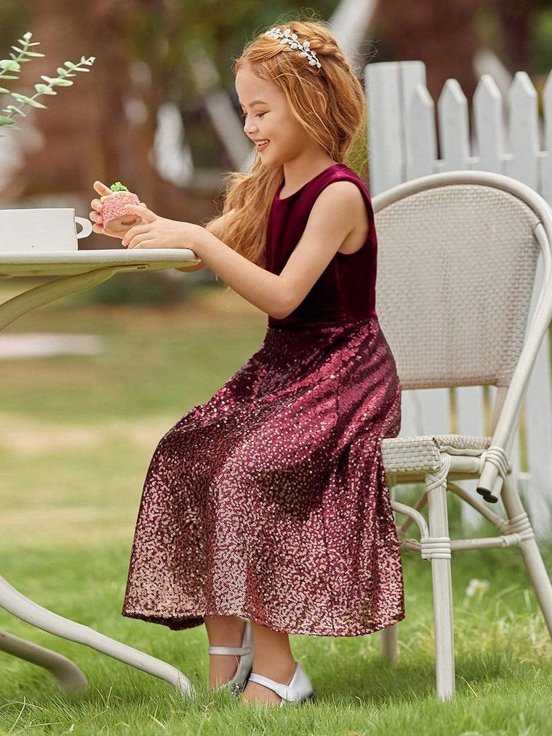 Trendy O-Neck Sleeveless Velvet & Sequin Flower Girl Dress-Burgundy 3