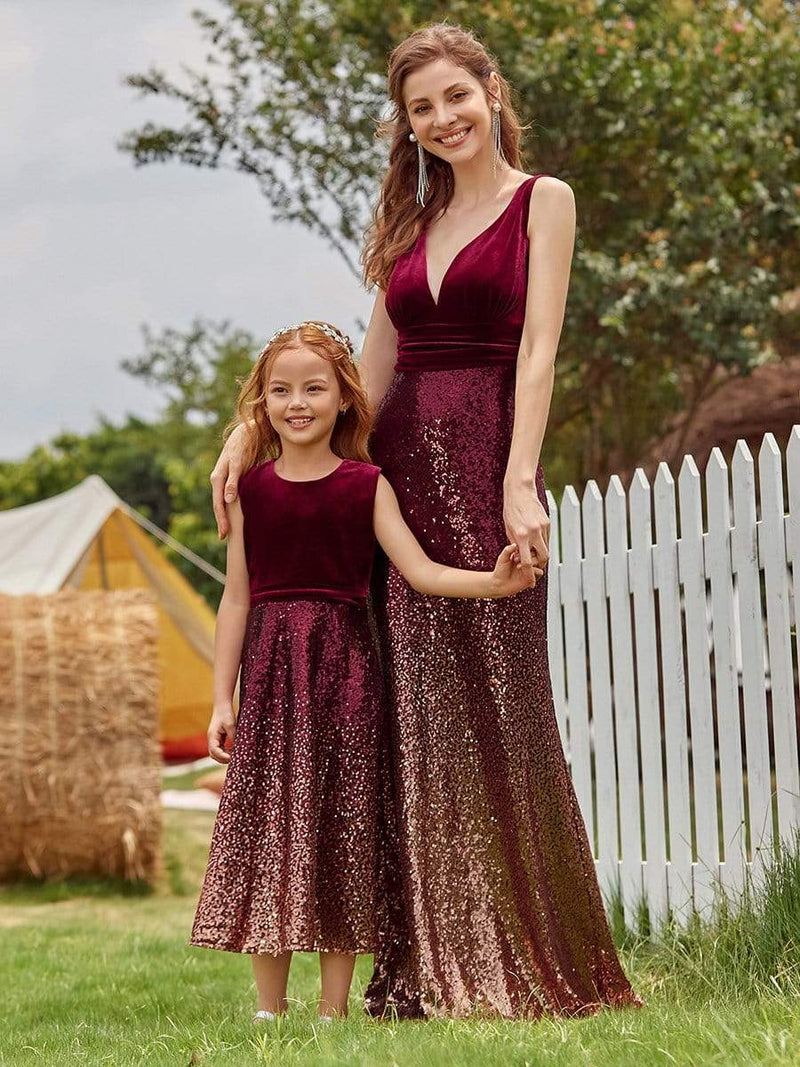 Trendy O-Neck Sleeveless Velvet & Sequin Flower Girl Dress-Burgundy 6