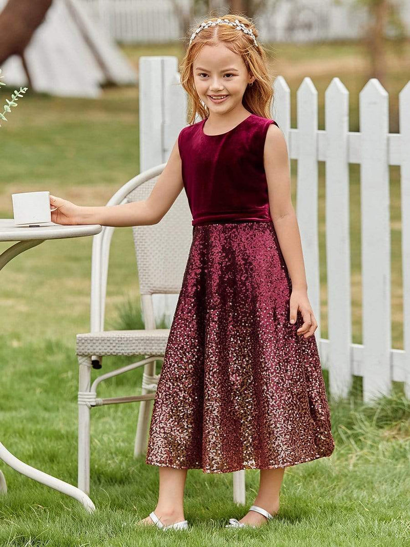 Trendy O-Neck Sleeveless Velvet & Sequin Flower Girl Dress-Burgundy 1