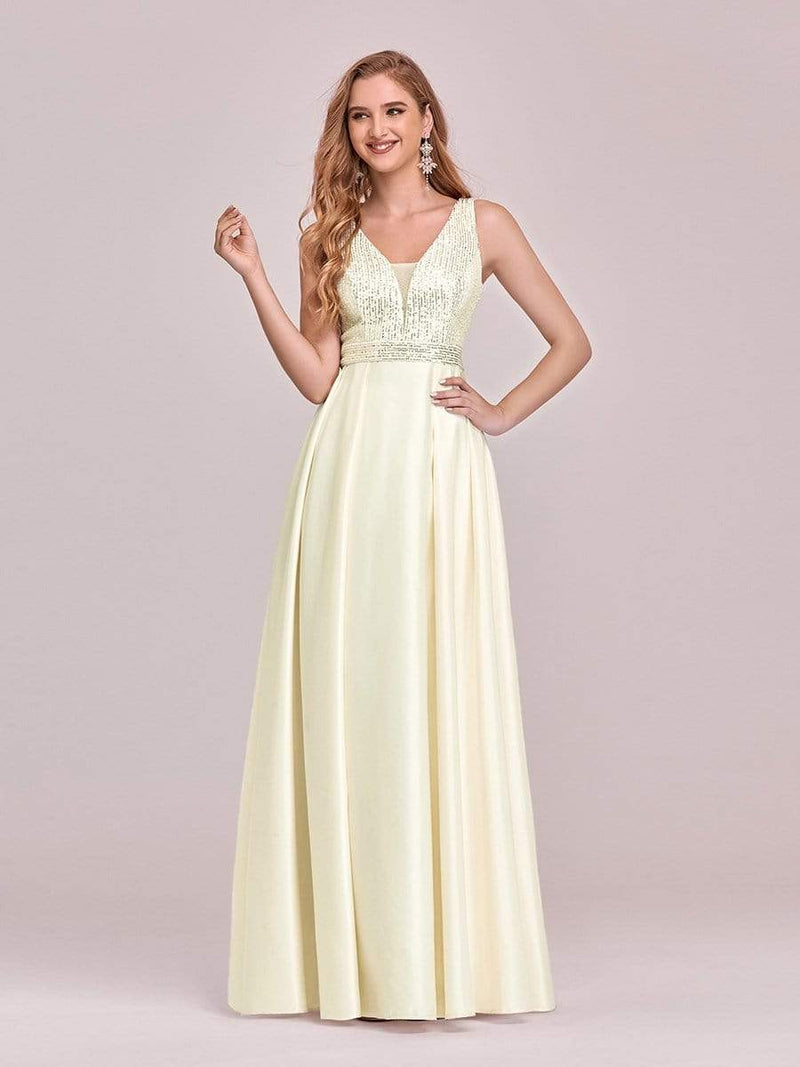 Sweet Double V Neck A-Line Satin Prom Dress With Sequin-Yellow 1