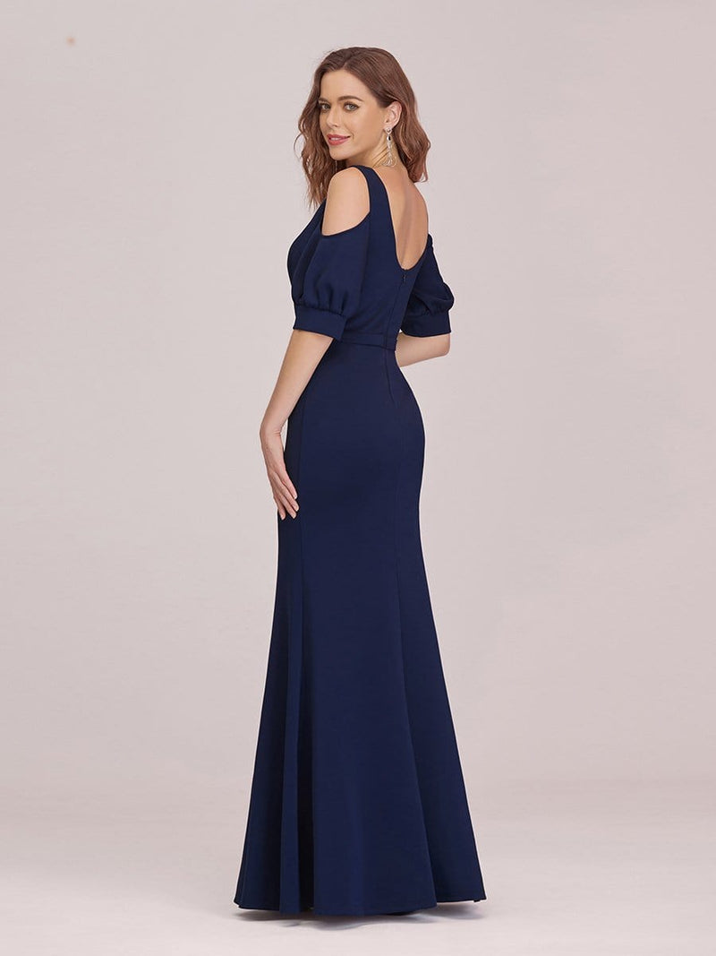 Fashion Round Neck Fishtail Maxi Evening Dress With Cold Shoulder-Navy Blue 2