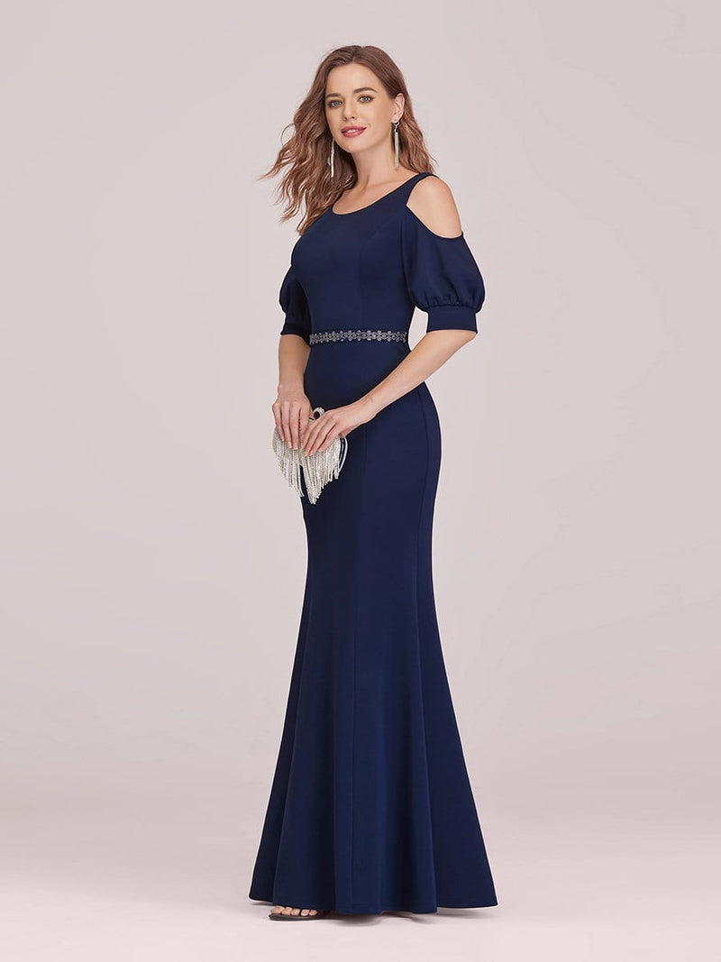 Fashion Round Neck Fishtail Maxi Evening Dress With Cold Shoulder-Navy Blue 3