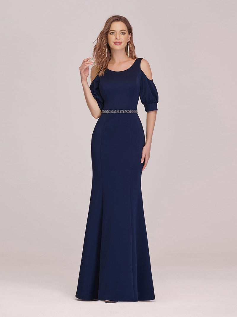 Fashion Round Neck Fishtail Maxi Evening Dress With Cold Shoulder-Navy Blue 4