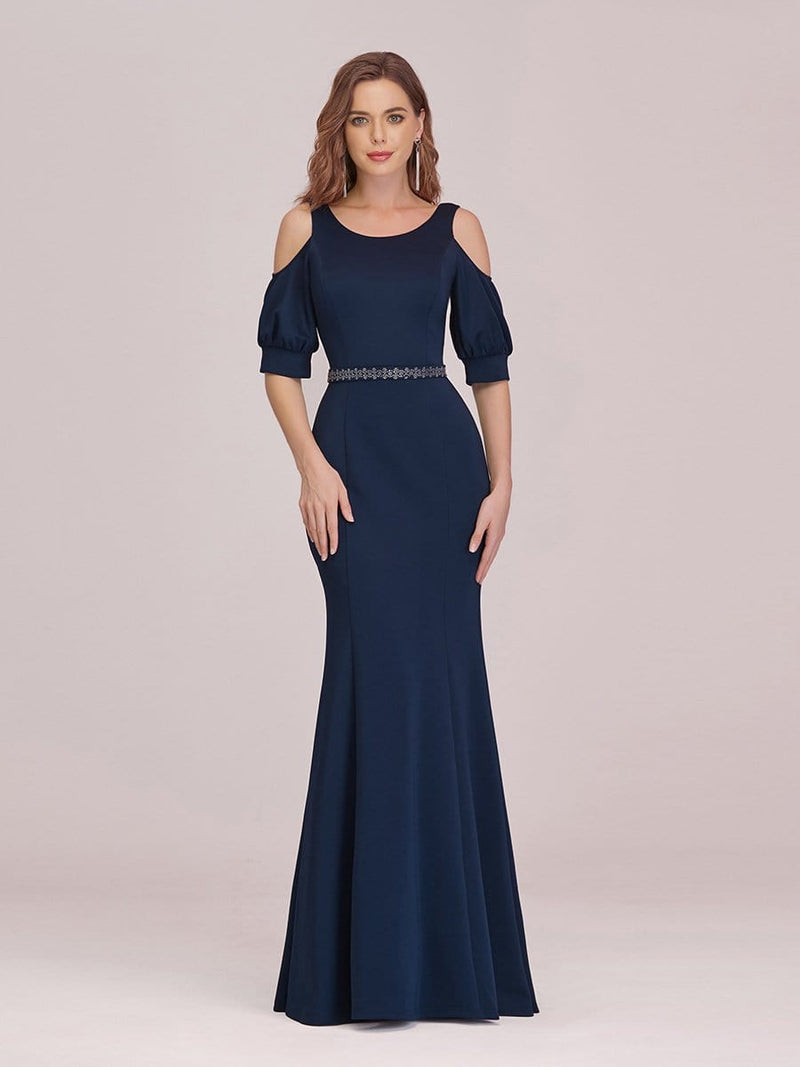 Fashion Round Neck Fishtail Maxi Evening Dress With Cold Shoulder-Navy Blue 1