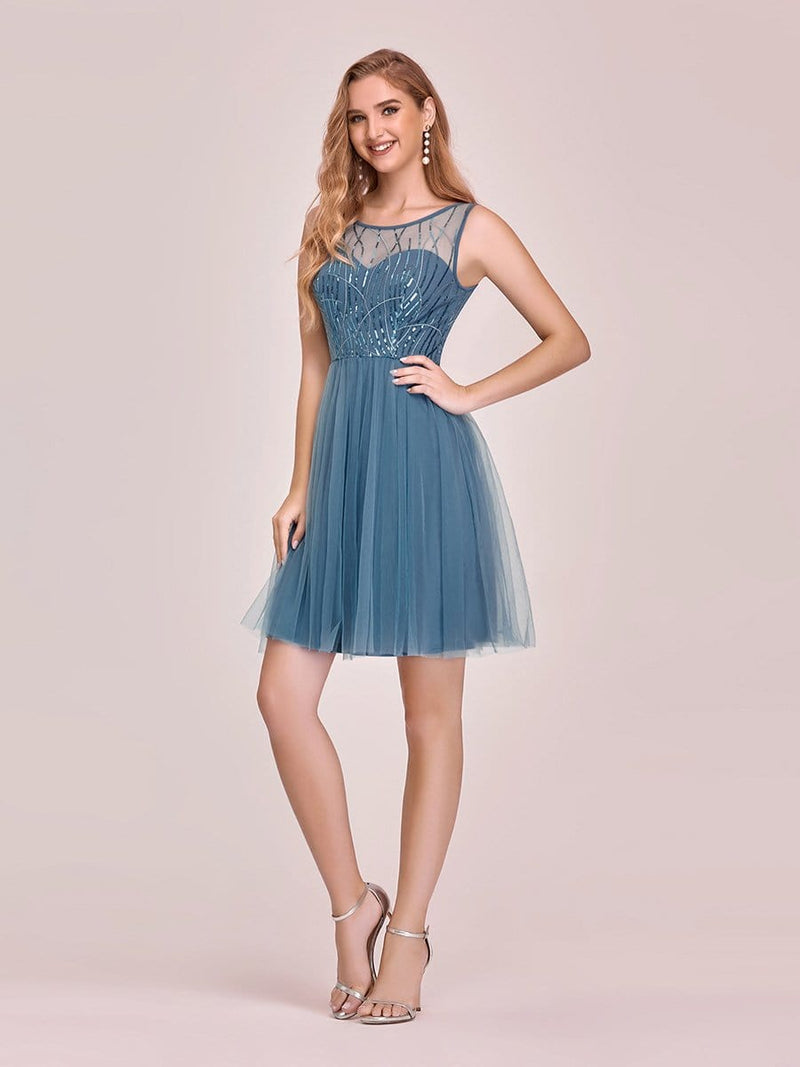 Feminine Round Neck Tulle Mini Formal Dress With Sequin-Dusty Navy 3