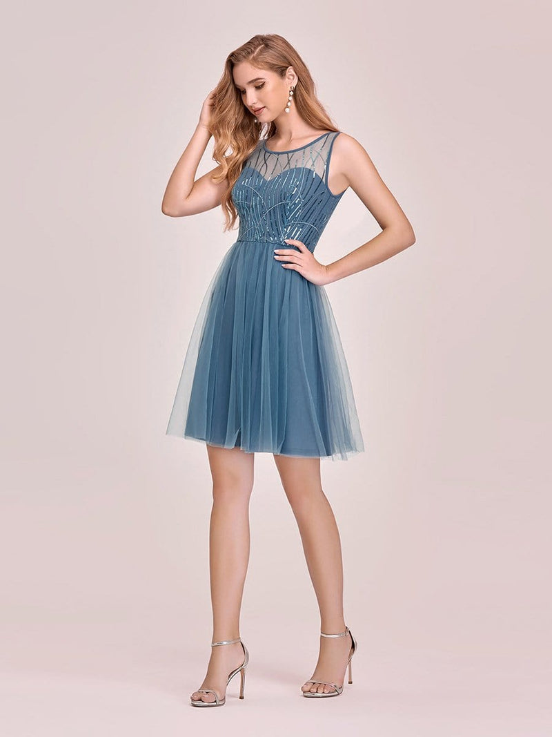 Feminine Round Neck Tulle Mini Formal Dress With Sequin-Dusty Navy 4