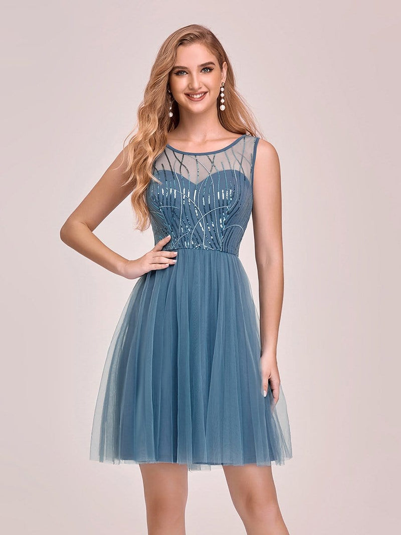 Feminine Round Neck Tulle Mini Formal Dress With Sequin-Dusty Navy 1