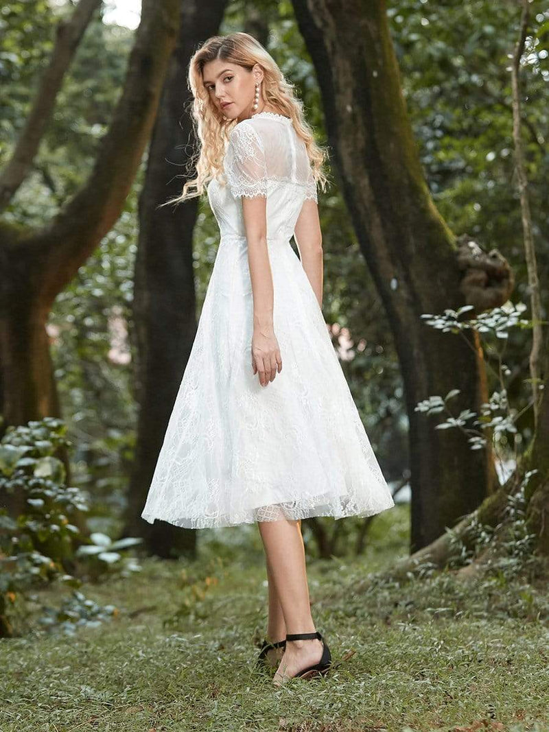 Cute Round Neck Midi-Length Lace & Tulle Casual Dress For Wedding-Cream 5