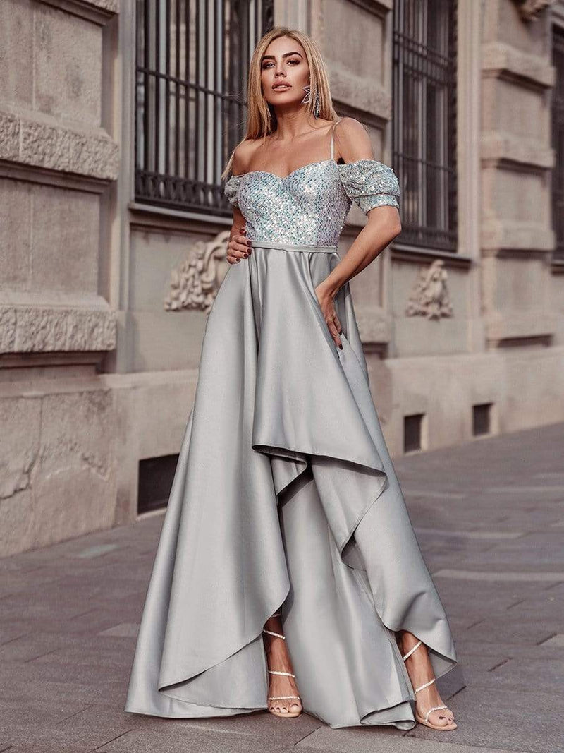 Sweet High-Low Satin & Sequin Prom Dress With Spaghetti Straps-Grey 6