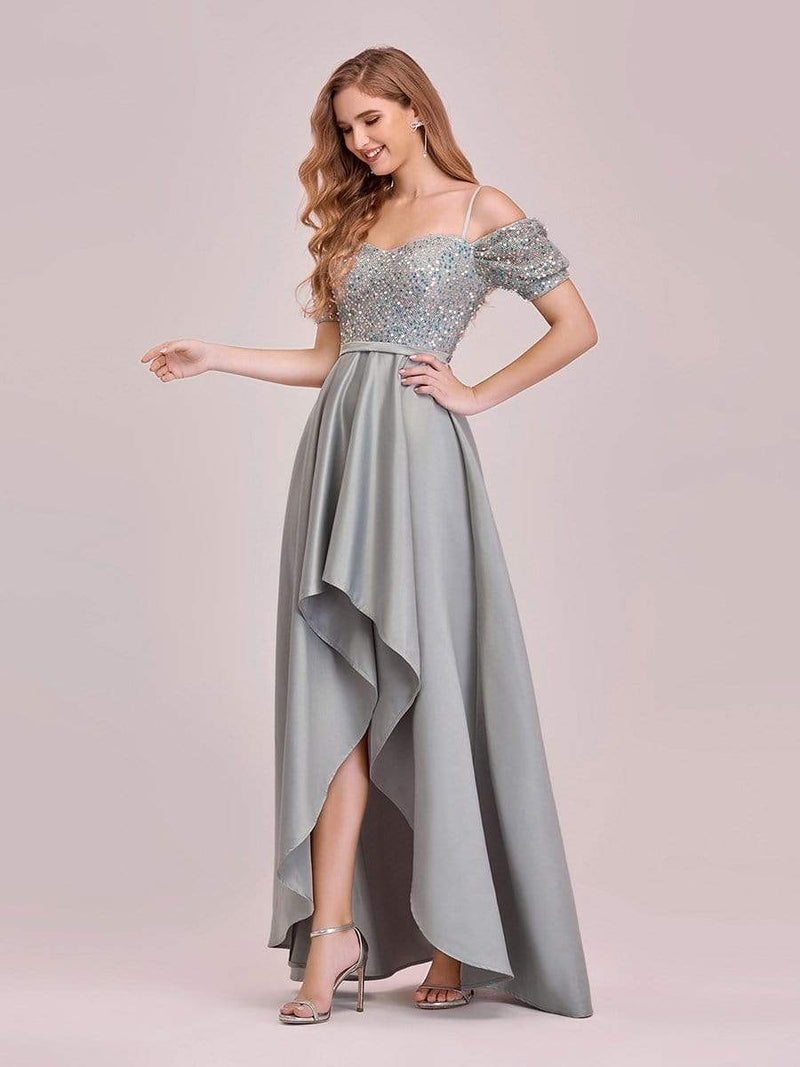 Sweet High-Low Satin & Sequin Prom Dress With Spaghetti Straps-Grey 3