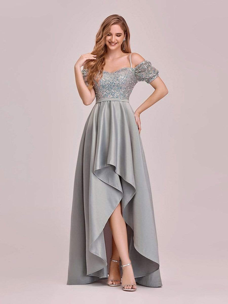 Sweet High-Low Satin & Sequin Prom Dress With Spaghetti Straps-Grey 1