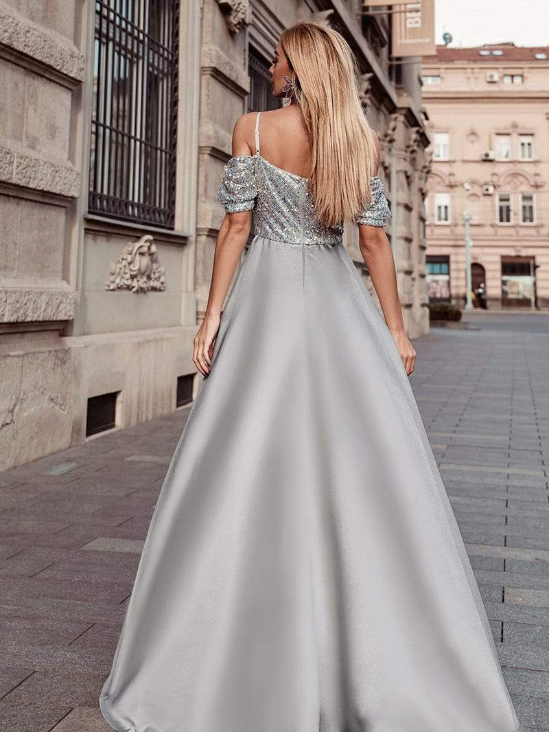 Sweet High-Low Satin & Sequin Prom Dress With Spaghetti Straps-Grey 7