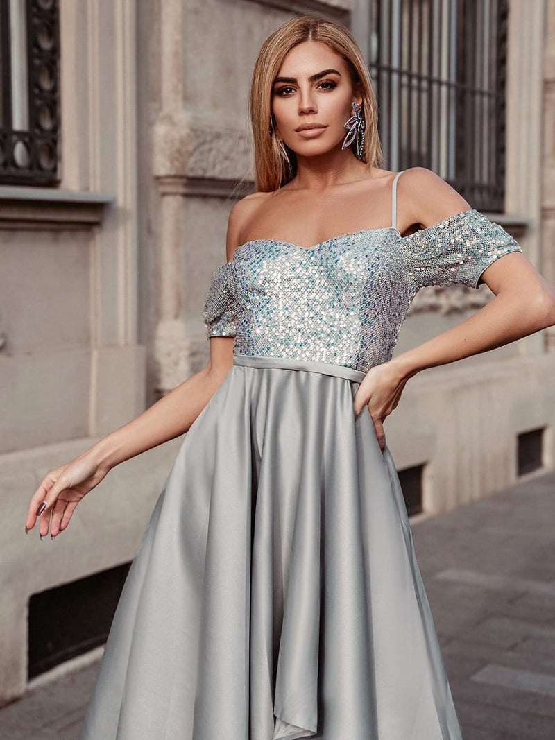 Sweet High-Low Satin & Sequin Prom Dress With Spaghetti Straps-Grey 8