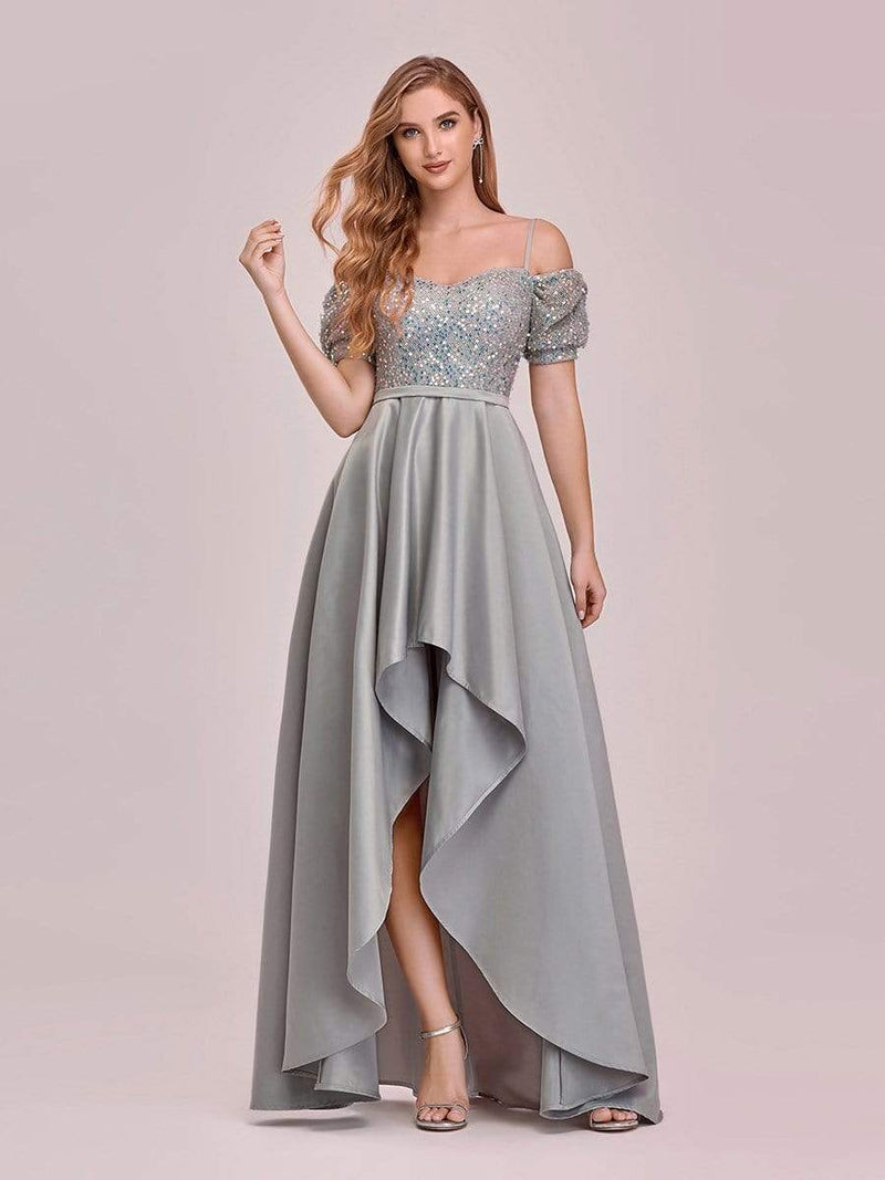 Sweet High-Low Satin & Sequin Prom Dress With Spaghetti Straps-Grey 4