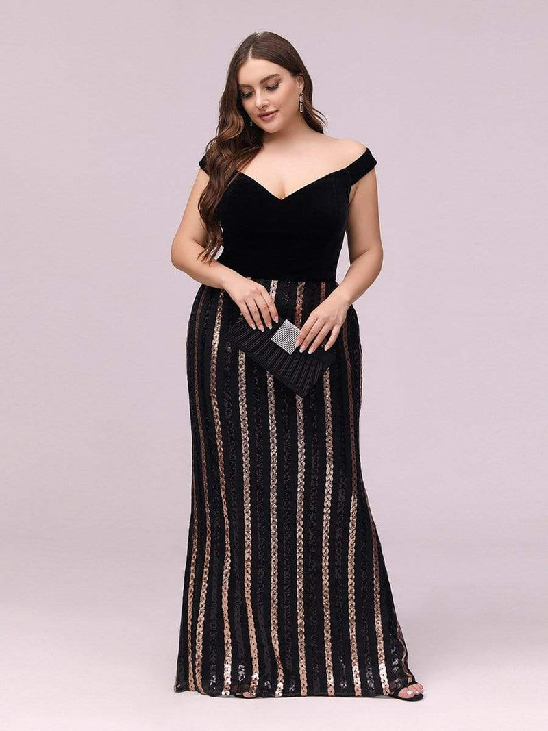 Women'S Hot Off Shoulder Fishtail Sequin Evening Dress-Black 4