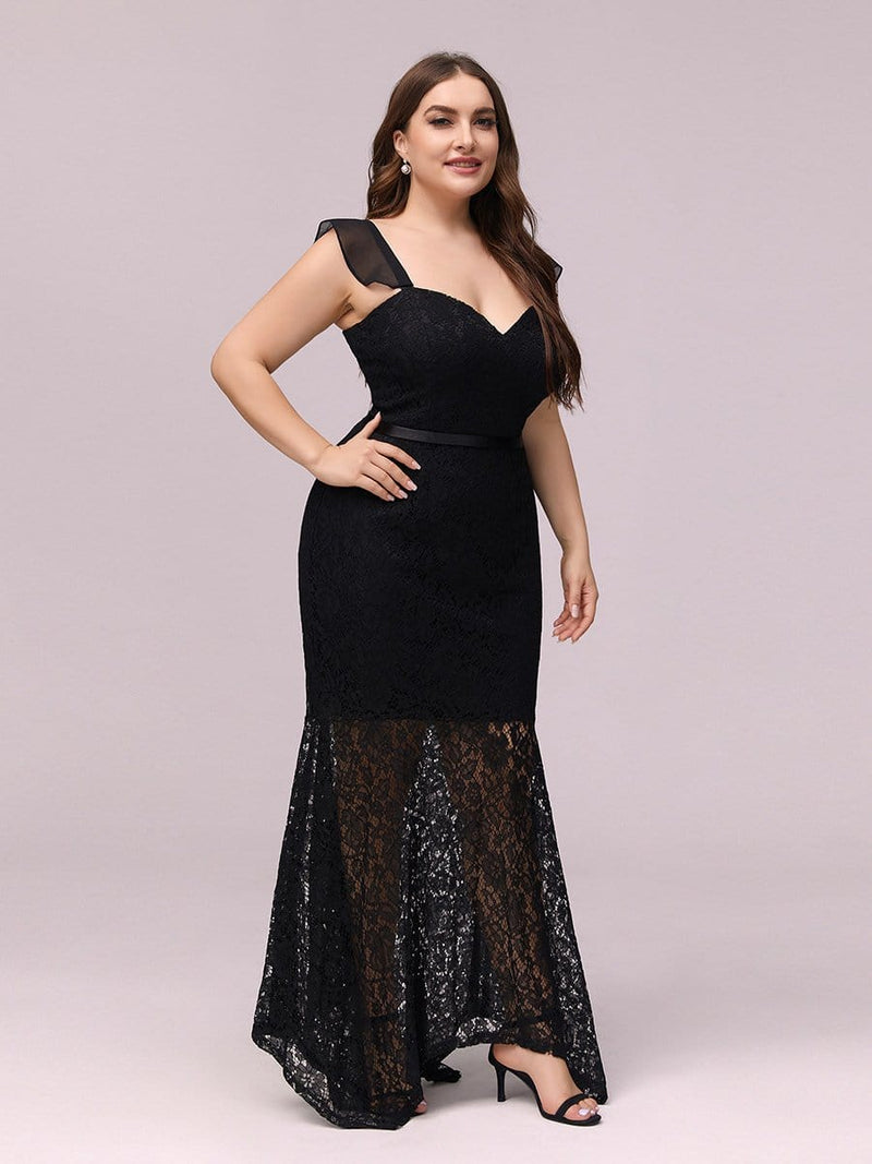Elegant Casual Tea-Length Lace Bodycon Party Dress-Black 5