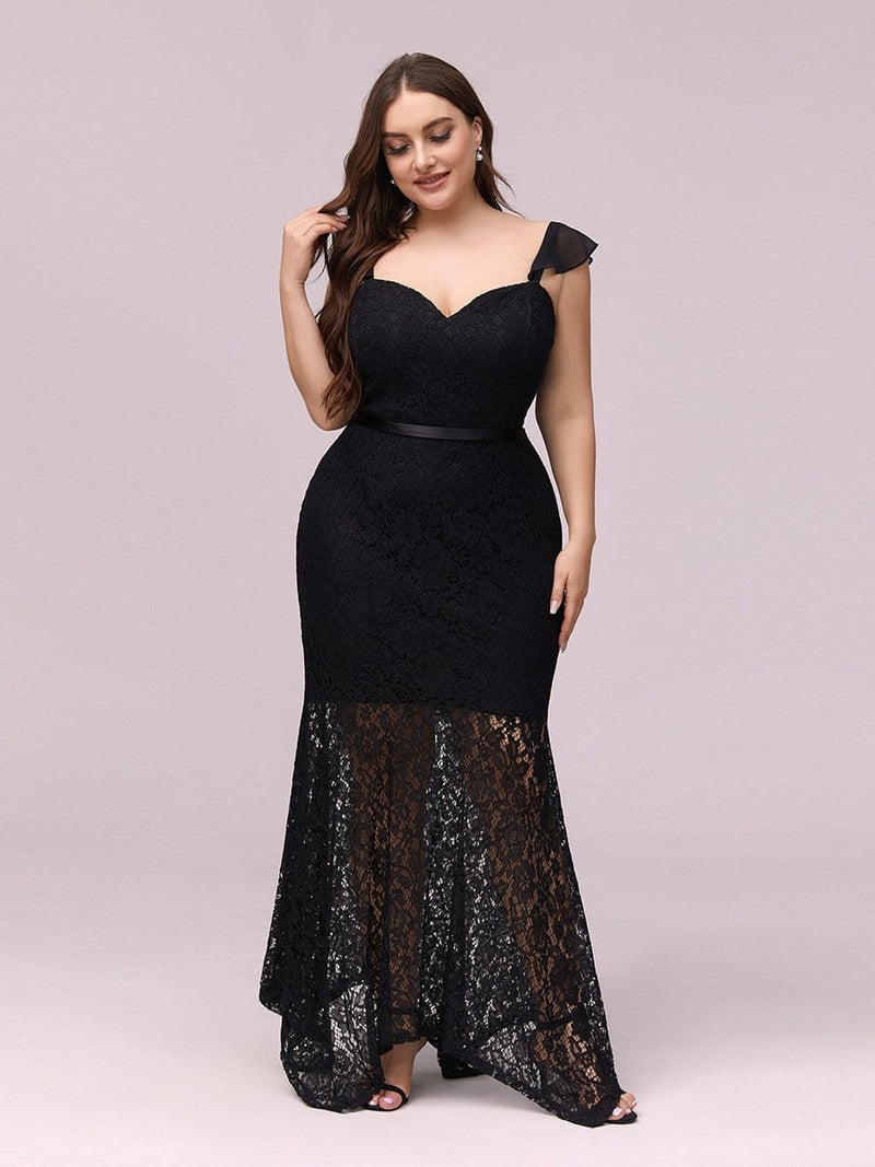 Elegant Casual Tea-Length Lace Bodycon Party Dress-Black 4